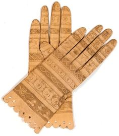 Intaglio engraved leather gloves, French, ca. 1800.