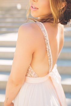 bridal looks | Julia // Rose Gold Sequinned Backless Wedding Dress by Truvelle