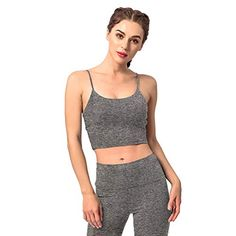 Women's Sports Bras Comfy Padded Gym Workout Crop Top Camisole Shirt Running Cami Yoga Crop Tank Tops RAISEVERN
