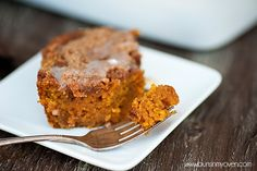 This pumpkin coffee cake is loaded with as much pumpkin as possible making it dense and creamy, almost like a pie!