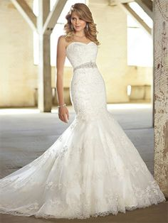 Trumpet/Mermaid Sweetheart Lace Satin Sweep Train White Beading Wedding Dresses #00016791