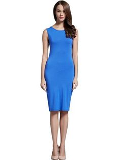 Hika Women's Classic Round Neck Sleeveless Slim Fitted Bodycon Pencil Dress Small Blue