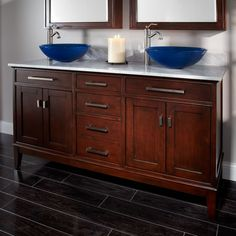 """60"""" Light Espresso Madison Double Vessel Sink Vanity - Bathroom Vanities - Bathroom"""