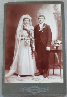 Late 1800's Antique Photo of Bride and Groom - Wedding Cabinet Card