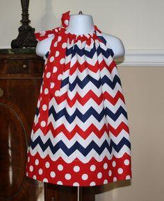 july 4th Pillowcase dress chevron red white blue by BlakeandBailey, $19.99