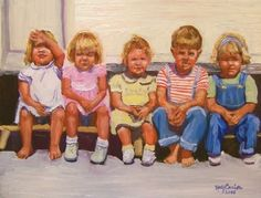 Kids on a trailer stoop, by Kay Crain