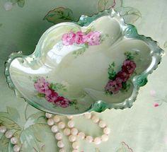 Antique Porcelain Dish 1800's M Z AustriaPicalilly by retrogroovie, $19.00