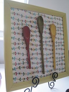 wall decor made with wooden spoons and epoxy