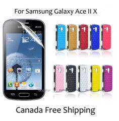 Blue Metal Diamond Bling Case Cover Samsung Galaxy Ace II 2 X + Screen Protector