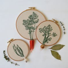 Appetising embroidery art that has crafted vegetables dangling from the canvas | Creative Boom
