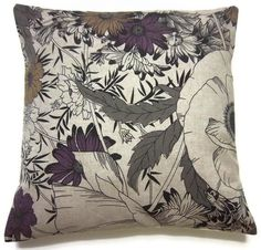 Two Purple Gray Black Taupe Pillow Covers Decorative Modern Floral Accent  Toss Thrown Pillow Covers 16