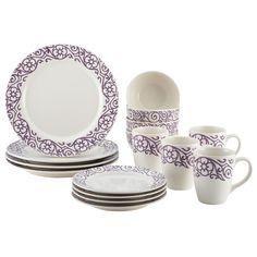 Rachael Ray Dinnerware 16-Piece Scroll Dinnerware Set, Lavender