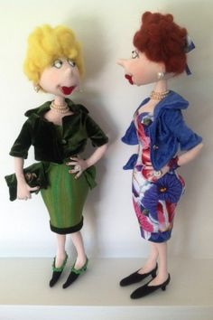 """Lizzie - Cloth Doll Pattern by Jill Maas  Slightly retro, sassy, sexy, curvy and upbeat she stands about 18-1/2"""" tall. Her dress, which is part of her body, is complemented with a little crop jacket and high heels to show off her shapely legs."""