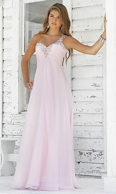 A-Line Chiffon One-Shoulder Long Dress fashion02335