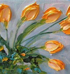 Original Oil Yellow Tulips by IronsideImpastos on Etsy