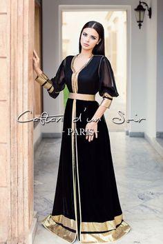Caftan for a night Paris Morrocan Dress, Moroccan Caftan, Muslim Fashion, Hijab Fashion, Fashion Dresses, Oriental Dress, Oriental Fashion, Hijab Evening Dress, Arabic Dress