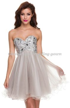 Custom Made Sweetheart Sequined Crystals Party Dresses Graduation Dress Mini Organza A Line Graduation Dresses Open Back 2014 $124.00