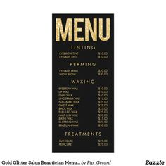 Gold Glitter Salon Beautician Menu Price List Rack Card Template