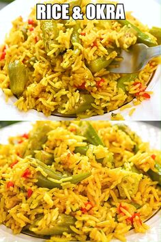 This Easy Rice and Okra dish is so flavorful and delicious. Once you've tasted it, you'll never look at okra Vegetable Dishes, Vegetable Recipes, Vegetarian Recipes, Cooking Recipes, Healthy Recipes, Vegan Vegetarian, Easy Cooking, Rice Recipes, Beginner Cooking