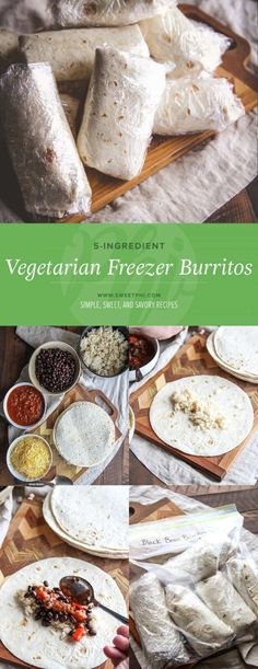 5-Ingredient vegetarian freezer burritos from @sweetphi