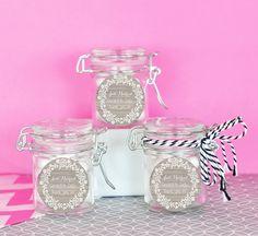 Lace Wreath Wedding Favour Jars (set of 12) - Customised Bomboniere