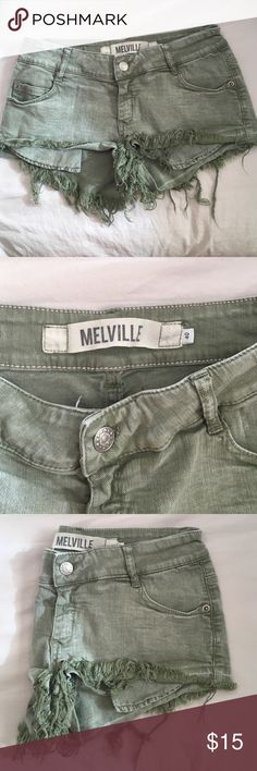 Brandy Melville Green Distressed Shorts Brandy Melville green distressed denim shorts - stretchy material. They say size 40 on the inside, but they're comparable to a size 0. Worn once and in excellent condition Brandy Melville Shorts Jean Shorts