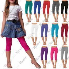 New Girls Kids Gymnastics Dance Cotton Plain Cropped 3/4 Leggings Capri Pants Kids Gymnastics, Girls Leggings, New Girl, Capri Pants, Dance, Cotton, Gymnastics For Kids, Dancing, Capri Trousers