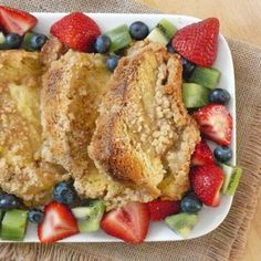 Vanilla Bean Baked French Toast: spray baking dish with butter-flavored nonstick spray, use lite bread, FF half & half instead of cream, FF milk, sugar substitute, count for maple syrup, the thinner bread may finish cooking sooner in the oven -- watch for browning; for topping (if using): use only brown sugar substitute (like Ideal Brown No Calorie Sweetener made with Xylitol) or count for other ingredients