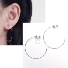 Silver Clip On Hoop Earrings Large Invisible Thin