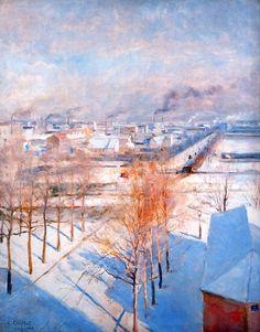welovepaintings:  Albert Edelfelt - Paris in the snow- 1887