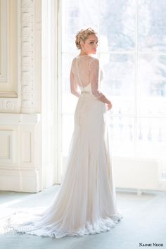 naomi neoh wedding dresses 2014 peony bridal gown with sleeves back buttons