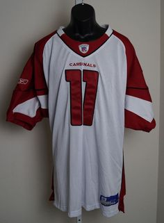 Arizona Cardinals #11 Larry Fitzgerald Men's Large White Stitch Jersey Size 56 #Reebok #ArizonaCardinals