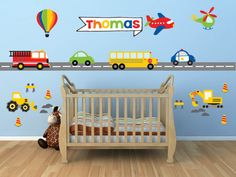 Name Wall Decal - Truck Wall Decal - Transportation Decals - Construction Wall Decal
