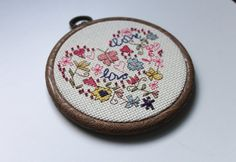 Embellished / Beaded  'LOVE' Cross Stitch in Pink by TasDeTrucs