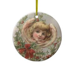 Vintage Christmas Ornament  So pretty. This gorgeous vintage Christmas illustration of an Angel surrounded by holly is simply adora...