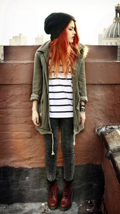 Fall/Winter Grunge Style Casual Knitted Beanies, fall jacket, skinny faded jeans like my gray ones, graphic tee Punk Fashion, Grunge Fashion, Fashion Outfits, Womens Fashion, Hipster Fashion, Dress Fashion, Jackets Fashion, Hipster Girl Outfits, Fashion Top