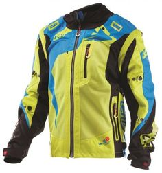 Super Vented, X-Flow Mesh Leatt GPX X-Flow Off-Road Jacket in Lime/Blue. Made of a lightweight shell as well as front and rear panels made of X-Flow mesh material, and a Spandura stretch panel on sides of jacket enables comfortable movement. Mesh Material, Body Armor, Extreme Sports, Motocross, Offroad, Motorcycle Jacket, Flow, Armour, Bicycle