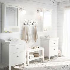 mirror cabinet with a door Hemnes, 63 x 16 x 98 cm;  Cabinet fitted Hemnes / Rättviken, 60 x 49 x 89 cm, 239 euros;  Bench Hemnes White, L 83 cm, 59 euros;  The brand Ikea.