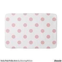 Girly Pink Polka Dots Bath Mat - Sold at DancingPelican on Zazzle.