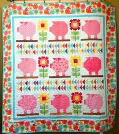 Farm Girl Vintage - Sunflower Pig Quilt - 66 1/2 x 70 1/2
