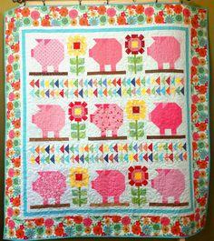 Farm Girl Vintage - Sunflower Pig Quilt - 66 1/2 x 70 1/2