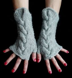 Fingerless Gloves Grey Cabled Wrist Warmers Warm and by LaimaShop, $34.00