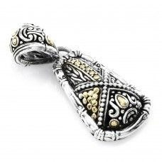 """Signed Designer JOHN HARDY """"Mixed Media"""" Multi-Collection Pendant in Sterling Silver & 18K Yellow Gold"""