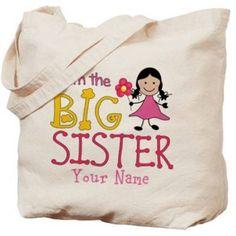Cafepress Personalized Stick Figure Flower Big Sister Tote Bag, Women's, Multicolor