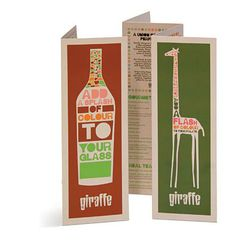 The design of this menu emulates the animal of which the restaurant is named after. It's tall and narrow and the cover is very graphic and bold. I like how the drink menu accompanies the food menu by being the same in design but just having a bottle on the front to differentiate it.