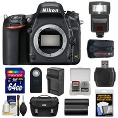 Nikon D750 Digital SLR Camera Body with 64GB Card + Battery & Charger + Case + GPS Adapter + Flash + Kit. KIT INCLUDES 12 PRODUCTS -- All BRAND NEW Items with all Manufacturer-supplied Accessories + Full USA Warranties:. [1] Nikon D750 Digital SLR Camera Body + [2] Nikon Digital SLR Camera Case + [3] Transcend 64GB SDXC 300x Card +. [4] Spare EN-EL15 Battery + [5] Battery Charger + [6] Precision Design DSLR300 Flash +. [7] PD GP-1 GPS Geotag Adapter + [8] Precision Design ML-L3 Remote…