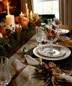 Organic Thanksgiving Tablescape With Transferware