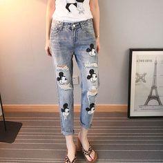 d8bf6df973 YOFEAI 2018 Jeans Mujer Casual Denim tobillo longitud novio Pantalones  Mujer Pantalones estampados Casual Harem Pantalones