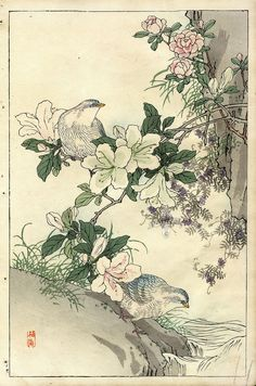 Japanese Embroidery Tiger Original Kono Bairei - Japanese Woodblock Print Doves and Azalea - Art And Illustration, Botanical Illustration, Botanical Drawings, Botanical Prints, Art Asiatique, Ga In, Japanese Embroidery, Japanese Painting, Japanese Prints