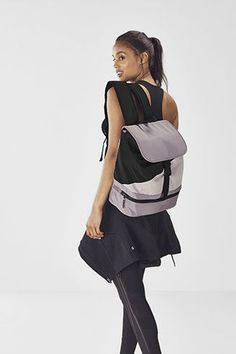 Inject some style into your indoor or outdoor adventures with our color block backpack, built with a zippered shoe compartment, comfy padded straps and internal pockets for all your gear. Bra Size Charts, Shoe Size Chart, Gym Backpack, Hip Bones, No Equipment Workout, Bra Sizes, Handbag Accessories, Soft Fabrics, Pink Ladies